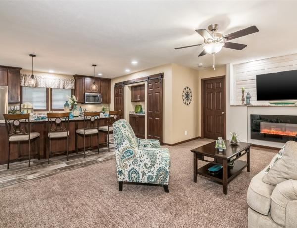 Manufactured housing with a spacious living room